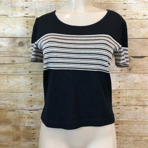 St. John Sport Black And Cream Striped Top Small